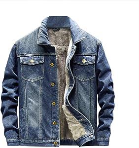 Leewa Denim Jacket Men's Casual Jacket Denim Coat Wool Lining Winter Lapel Men's Jackets Abrigo de invierno