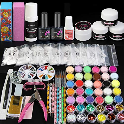 42 in 1 Acrylic Nail Kit, Nail Acrylic Powder and Liquid Set with Everything Nail Art Decoration Tools Professional Manicure Set