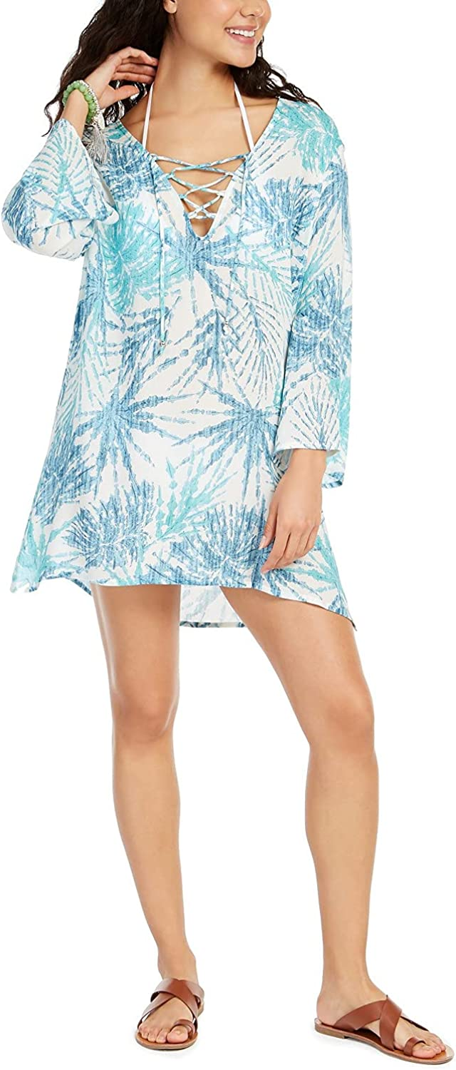 J. VALDI Women's Wovens Lace Up Front Tunic Swim Cover Up