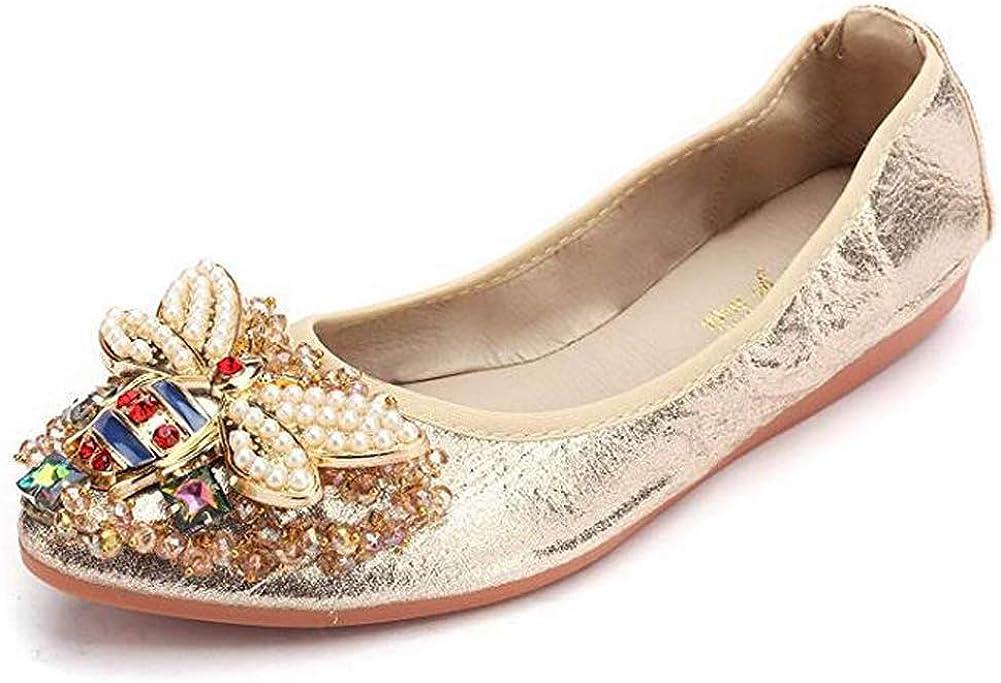 Otamise Women's Foldable Flats Rhinestone Miami Mall depot Wedding Sparkly Shoes