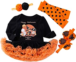 LvRao Baby Girls' 4pcs Pumpkin Pattern Outfits 1st Halloween Costume Skirted Romper Tutu Dress Leggings Headband Shoes