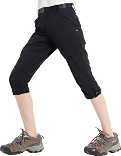 Women's Hiking Capri Pants Lightweight Quick Dry Cargo Cropped Pants with 5 Pockets, Water Resistant