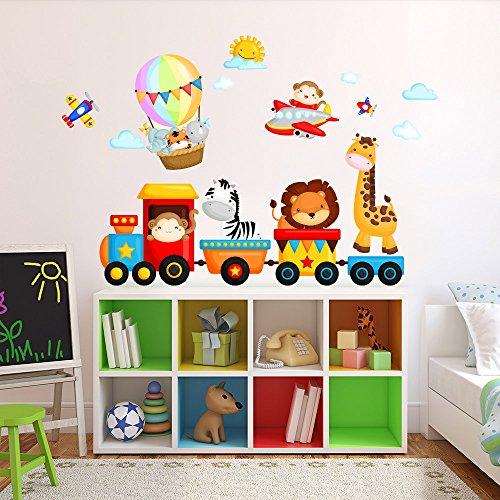 R00350 Adesivi Murali Soffice Effetto Tessuto Animaletti sul Trenino Decorazione Muro Bambino Neonato Nursery Cameretta Asilo Nido Carta da Parati Adesiva