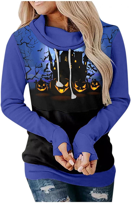 ONHUON Hoodies for Women,Womens Long Sleeve Sweatshirts Drawstring Loose Fitting Color Block Halloween Graphic Hoodie