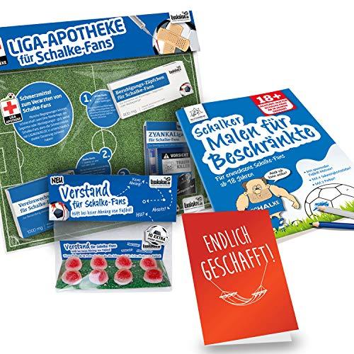 Alles für Schalke-Fans by Ligakakao.de Schalke Badeschlappen ist jetzt das GROßE Saison Notfall Set f badeschuh flip Flops Unisex Herren blau-weiß