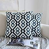 AMY Dekokissen, komfortable weiche Kissenbezug Lendenkissen Bestickt Kissen Travel Pad geeignet für Zuhause Sofa Outdoor Wagon - blau (18 × 18 Zoll),B