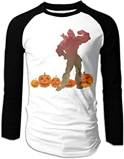 Mens Man In Pumpkin Patch Inspired Silhouette T-Shirts Long Sleeve Shirts Black