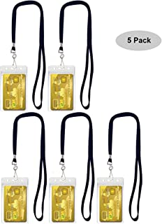 Cypes 5 Pack Name Tags Badge ID Card Holders and Flat Neck Lanyards with Swivel Hook Suit for Key, Credit Card Organize BY (Black)