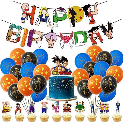 Hilloly Dragon Ball Anniversaire Décorations 36PCS Décoration de Fête Dragon Ball avec Bannière Joyeux Anniversaire, Ballon et Topper pour Thème d'anniversaire Dragon Ball Partie Décorations
