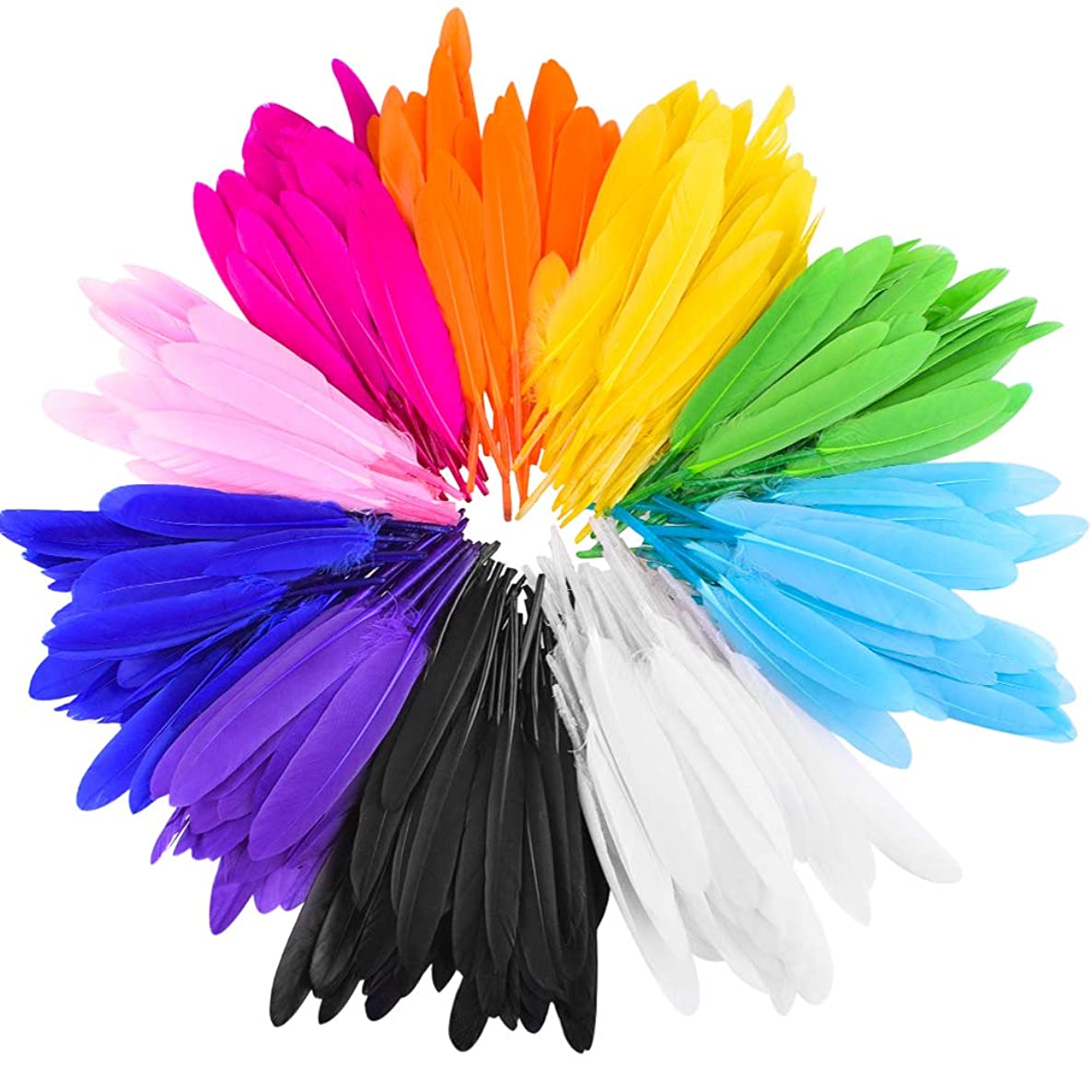 WXJ13 Assorted Goose Feathers 10 Colors Feathers 3-6 Inches for Decoration DIY Craft