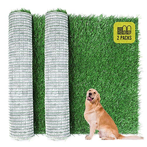 Dog Grass Pad, 2-Pack Portable Grass Pee Pads for Dogs Washable Professional Dog Grass Mat Training Grass Pee Pad for Indoor Outdoor Porches Apartments and Grass Turf Mat Replacement (14