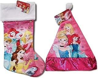 Disney Princess Holiday Stocking with Matching Sparkly Santa Hat