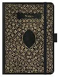 Premium Notes Big 'Antik - Schwarz': A5 Notizbuch liniert mit hochwertiger Folienveredelung, Stiftehalter, Zetteltasche und Leseband