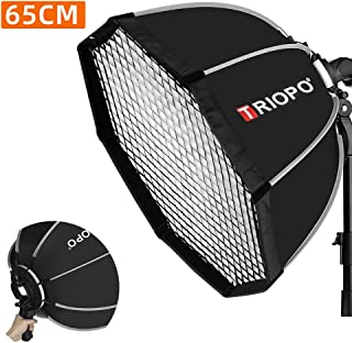 Triopo KS65 Portable Softbox 25.6in / 65cm Speedlite Octagon Umbrella Softbox with Honeycomb Grid Outdoor Flash SoftBox fo...