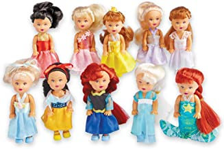 Collections Etc Little Princess Dolls and Includes Elsa, Anna, Snow White, Little Mermaid, and More- Set of 10, Each 4 in. Tall - Gift Ideas for Girls