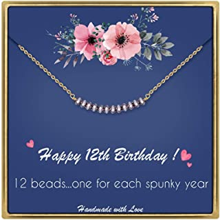 IEFLIFE Birthday Gifts for Women Girls - Crystal Beads Necklace Happy Birthday Necklaces Beaded Bar Necklace 12th 13th 14th 15th Sweet 16 17th 18th 19th 20th 21st 25th Birthday Gifts