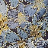 JUIC Blue Metallic Gold Fringe Flower Jacquard Stoff für
