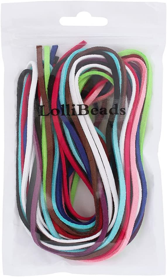 LolliBeads 1 Meter x 10 Colors TM 3mm Faux Leather Lace Micro Fiber Suede Cord Assorted Colors for Friendship Bracelet Braiding String 3.3 Feet