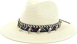 Hats and Caps Autumn Panama Caps Straw Fedora Hat Men Khaki Breathable Jazz Hat Women Casual Btitish Style Sun Cap Vintage Summer (Color : Cream, Size : 56-58CM)