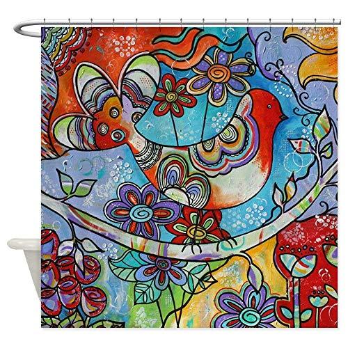 N\A Indian Summer Bird dekorativer Stoff Duschvorhang