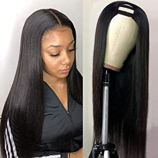 U Part Wig Human Hair Wigs for Black Women Straight Human Hair Wigs 100% Brazilian Glueless Full Head U-part Hair Extensio...
