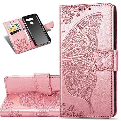 COTDINFOR Etui für LG K50 Hülle PU Leder Cover Schutzhülle Magnet Tasche Flip Handytasche im Bookstyle Kartenfächer Lederhülle für LG K50 Flower Butterfly Rose Gold SD