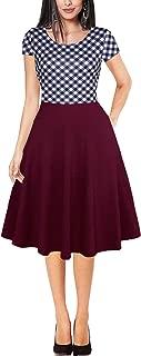 Women's Short Sleeve Round Neck Patchwork Pockets Puffy Swing Aline Dress