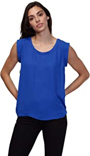 b149a77db8 Pleione Solid Sleeveless Blouse in Round Neck with Pleated Back