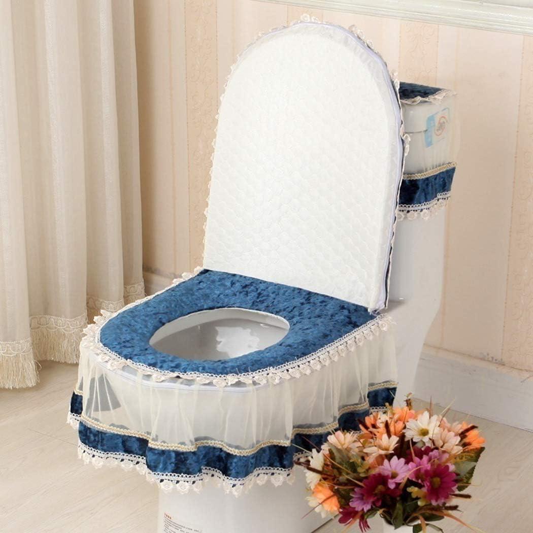 JUSTDOLIFE 3PCS Toilet Cover Set Elegant Lace Toilet Seat Cover Toilet Tank Lid Cover