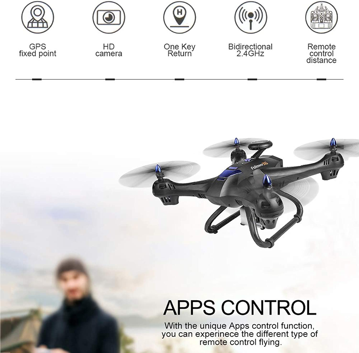 ZMM FPV RC Drone with 1080P GPS FPV RC Drone with Camera Live Video and GPS Return Home Quadcopter with HD WIFI Camera