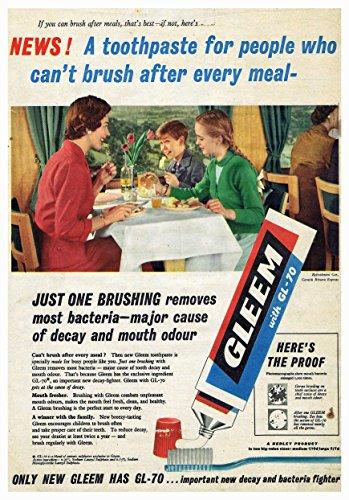 Blue Banana Gleem Poster Een tandpasta voor mensen die kunnen penseel na elke maaltijd foto Vintage Oude Advert Artwork Classic ouderwetse Commerciële