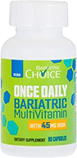 Bariatric Choice ONCE DAILY Bariatric Multivitamin Capsule with 45 mg of Iron (90 Count), Bariatric Vitamin Supplement for...
