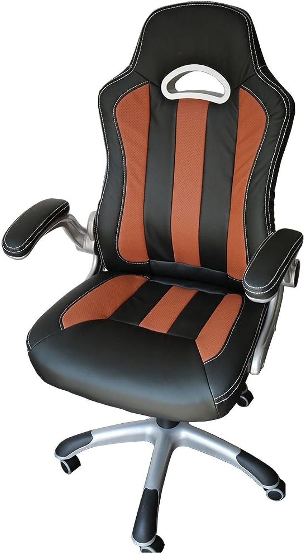 SPORTSITZ CHEFSESSEL Bürodrehstuhl Schalensitz Schreibtischstuhl Drehstuhl 212103 schwarz braun Classic Car Seat Racer