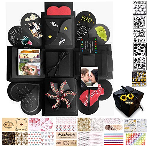 MAEKIJOY Kreative Überraschung Box Explosionsbox Geschenkbox Stickervarianten DIY Faltendes Fotoalbum Scrapbook für Geburtstags Weihnachten Hochzeit Valentinstag Muttertag, Schwarz