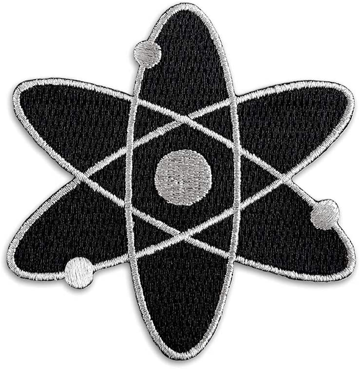 Pinsanity Black Overseas parallel import regular Super popular specialty store item Atomic Symbol Iron-on Patch Embroidered