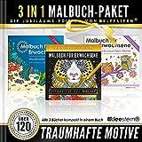 3 IN 1: Malbuch für Erwachsene (120 Motive - Meereswelt, Eulen, Tierwelt bei Nacht): Volume 4