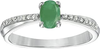 .50 Ct Oval Green Emerald Diamond Ring in Sterling Silver (.08cttw, I-J, I2-I3)