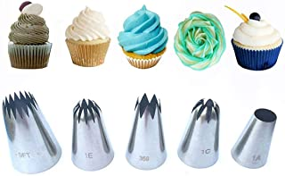 Monico large flower cake big decorating tips set-ideal pastry DIY tools kit for cupcakes and backing cookies, steel