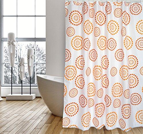 """MSV Cotexsa by Premium Anti-Schimmel Textil Duschvorhang - Anti-Bakteriell, waschbar, 100% wasserdicht, mit 12 Duschvorhangringen - Polyester, """"Dots"""" Orange 180x200cm – Made in Spain"""