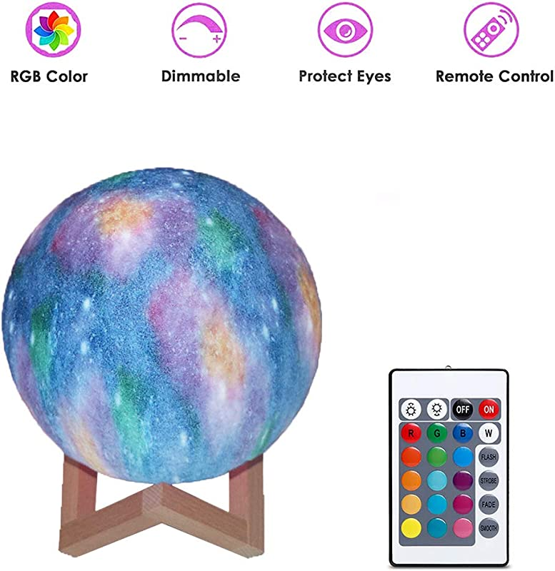 3D Print Starry Moon Lamp 16 Colors Starry Moon Light With Stand Demote Touch Control USB Recharge Bedrooms Bedside Night Lights For Baby Kids Friends And Christmas Gift 10CM