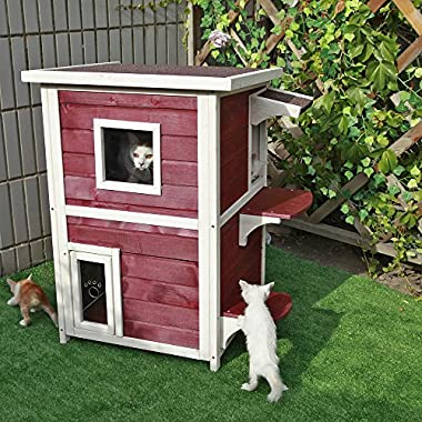 Petsfit 2-Story Weatherproof Outdoor Kitty Cat House/Condo/Shelter with Escape Door 20  Lx20 Wx32 H