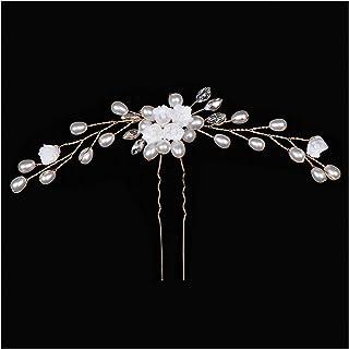 ヘアピン 女性の髪の針髪のヘアクリップヘッドドレスの結婚式のヘアアクセサリー花嫁の髪型のための髪のフォーク (Metal color : 2)