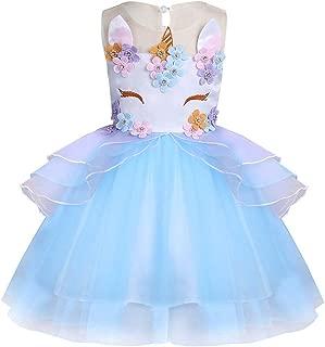 Wocau Girl Unicorn Dress Pageant Flower Princess Ball Gowns