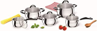Bialetti 0E6BAT10 Belly Pot Steel Cookware Set, 10 Pieces, Suitable for Induction