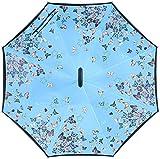 Paraguas invertido de Doble Capa de adentro hacia afuera y sombrilla Plegable, Reversible con asa de...