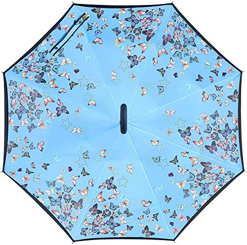 Reversion Regenschirm, Winddichtes Regenschirm umge Folding Double Layer Sunblock Umwelt Bumbershoot Double Layer Inside-Out Umgekehrte Umbrella