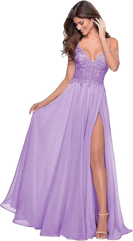 Women's Chiffon Spaghetti Straps V-Neck Split Sexy Long Bridesmaid Dress Formal Occasion Dress