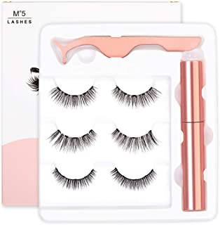 Magnetic Eyeliner and Lashes, Magnetic Eyelashes with Eyeliner, Liquid Magnetic Eyeliners with Long Lasting Magnetic False Eyelash, Natural Look and Applicator, No Glue Needed (Pattern B)