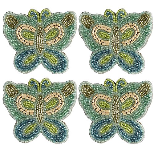 Pier One Blue and Green Beaded Butterfly Coasters (set of 4)