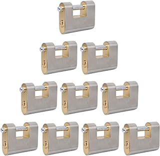Keyed Alike Stainless Steel Armored Block Lock (70mm),Weather Resistant, for Container, Warehouse, Gates, Fence, Vending Machine, Recycling Industry, Plants, Commercial (10)